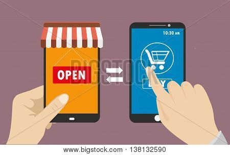 One hand holds a smartphone shop the other hand touching blank screen with icon shopping e-commerce on the phone flat design