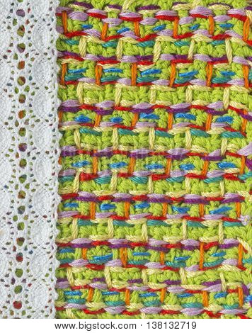 Handmade crochet pattern knitting sewing. Homemade stitch colorful backdrop embroidery with lace. Background for sketchbook notebook. Place for text
