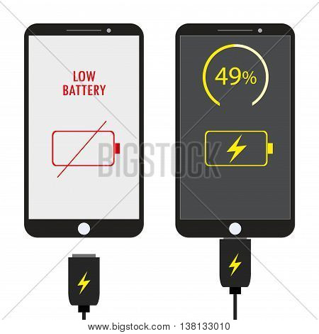 Two Mobile phone charging flat design vector