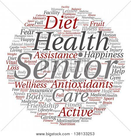 Vector concept conceptual old senior health, care, elderly people abstract round word cloud isolated on background metaphor to healthcare, illness, medicine, assistance, help, treatment, active happy