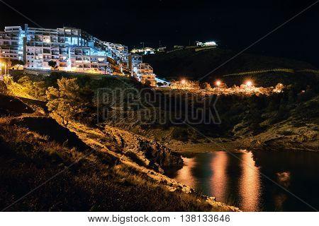 Coast of a Benidorm at night. Alicante province Costa Blanca. Spain