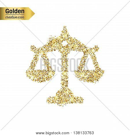 Gold glitter vector icon of scales isolated on background. Art creative concept illustration for web, glow light confetti, bright sequins, sparkle tinsel, abstract bling, shimmer dust, foil.