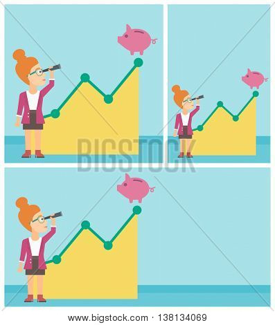 Young business woman looking through spyglass at a piggy bank standing at the top of growth graph. Vector flat design illustration. Square, horizontal, vertical layouts.