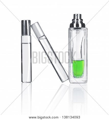 spray bottles isolated on white background .