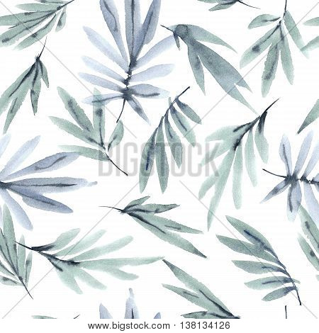Watercolor and ink illustration of leaves. Sumi-e painting. Seamless pattern.