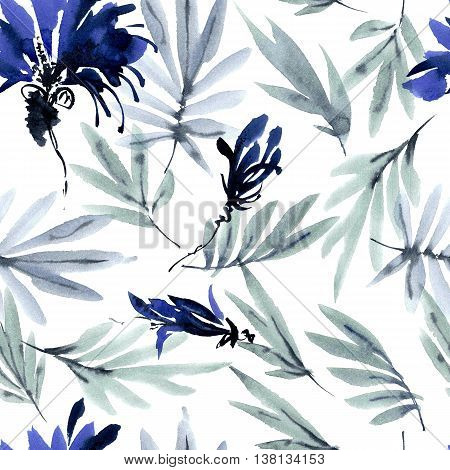 Watercolor and ink illustration of leaves and flowers. Sumi-e painting. Seamless pattern.
