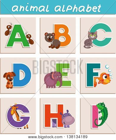 Vector Animal Alphabet. Letter