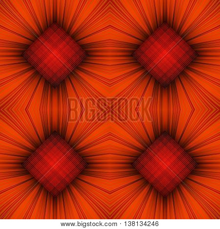 3D illustration. Seamless c radial rays and orange checkered squares. The three-dimensional luminous psychedelic space. Regular pattern.