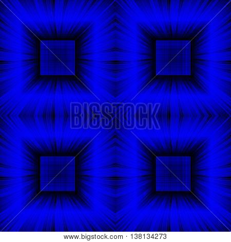 3D illustration. Seamless c radial rays and blue checkered squares. The three-dimensional luminous psychedelic space. Regular pattern.