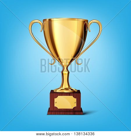 gold cup isolated on a blue background, vector illustration.