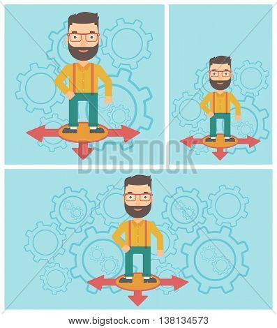 A hipster man with the beard standing on three alternative ways on a blue background with cogwheels. Concept of career choices. Vector flat design illustration. Square, horizontal, vertical layouts.