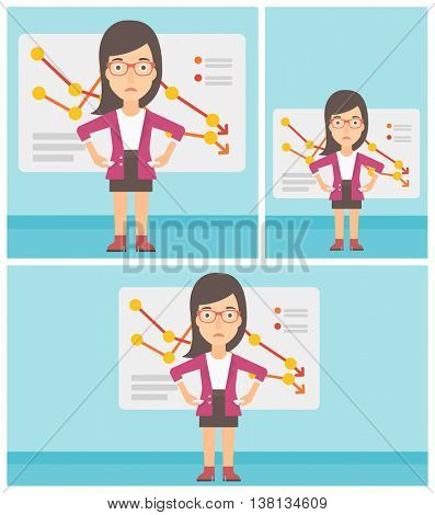 A confused business woman showing her epmty pockets on the background of a board with decreasing chart. Bankruptcy concept. Vector flat design illustration. Square, horizontal, vertical layouts.