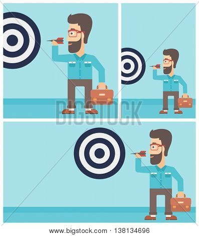 Young hipster businessman with the beard aiming at a target board. Vector flat design illustration. Square, horizontal, vertical layouts.