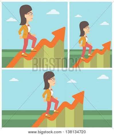Cheerful businesswoman running along the growth graph. Businesswoman going up. Woman moving up. Successful business concept. Vector flat design illustration. Square, horizontal, vertical layouts.