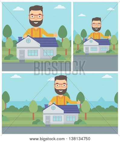 A hipster man standing behind the house and showing thumb up. Real estate agent offering the house. Young man giving thumbs up. Vector flat design Illustration. Square, horizontal, vertical layouts.