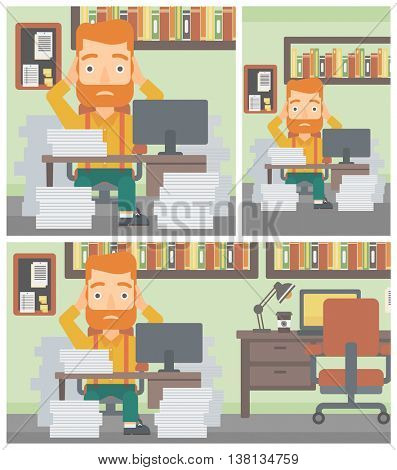 A hipster businessman in despair sitting at workplace with heaps of papers and clutching his head. Vector flat design illustration. Square, horizontal, vertical layouts.