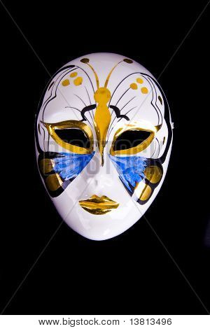 Porcelain carnival old-fashioned mask isolated