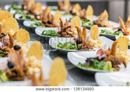 Luxury food on wedding table, fine dining