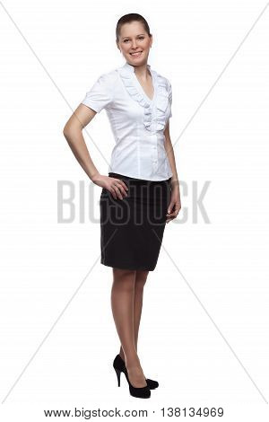 Full face of a young woman dressed in office-style full-length isolated on white background.