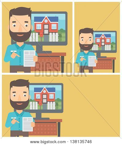 Hipster man with the beard standing in front of tv screen with house photo on it and pointing at a real estate contract. Vector flat design Illustration. Square, horizontal, vertical layouts.
