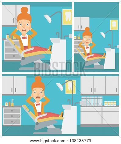 Frightened female patient sitting in dental chair at dentist office.Vector flat design Illustration. Square, horizontal, vertical layouts.