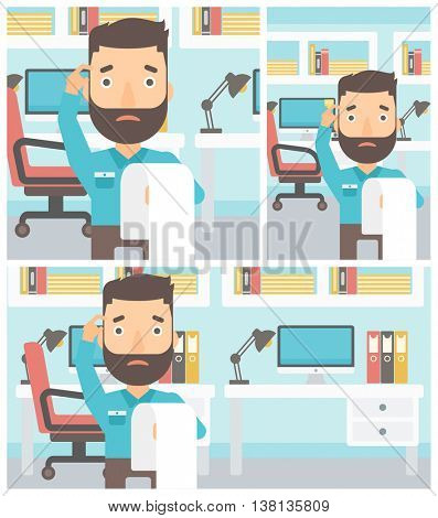 A worried hipster businessman with the beard standing in the office and holding a long bill. Concept of business bankruptcy. Vector flat design illustration. Square, horizontal, vertical layouts.