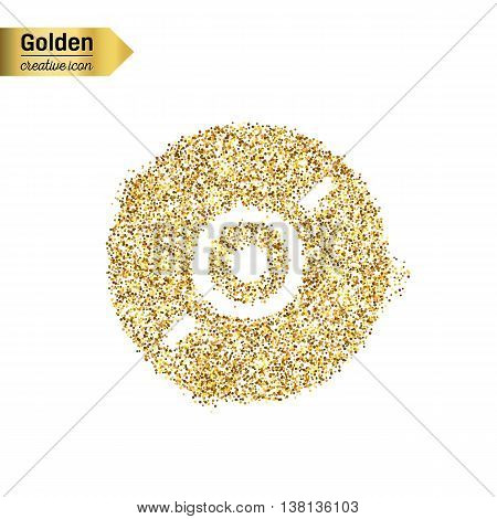 Gold glitter vector icon of CD disk isolated on background. Art creative concept illustration for web, glow light confetti, bright sequins, sparkle tinsel, abstract bling, shimmer dust, foil.