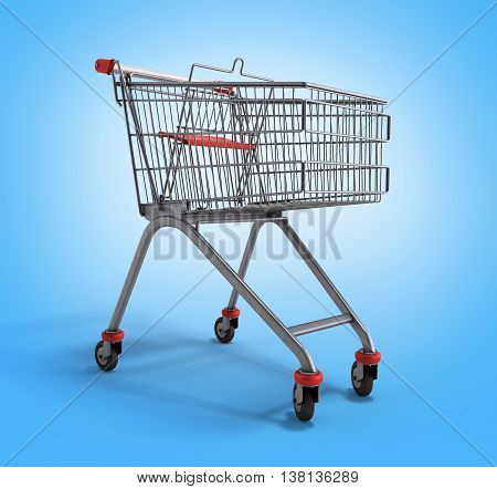 Empty Trolley From The Supermarket 3D Illustration On Gradient Background