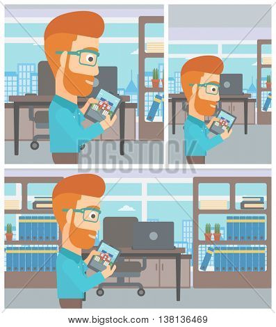 A hipster man looking at house on a digital tablet screen. Man standing in office and looking for house on tablet computer. Vector flat design Illustration. Square, horizontal, vertical layouts.