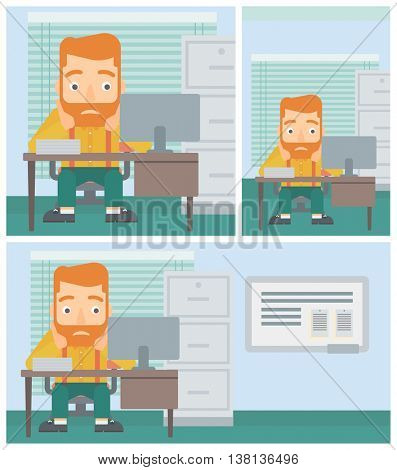 A tired hipster man with the beard sitting at workplace in front of computer monitor and clutching his head. Vector flat design illustration. Square, horizontal, vertical layouts.