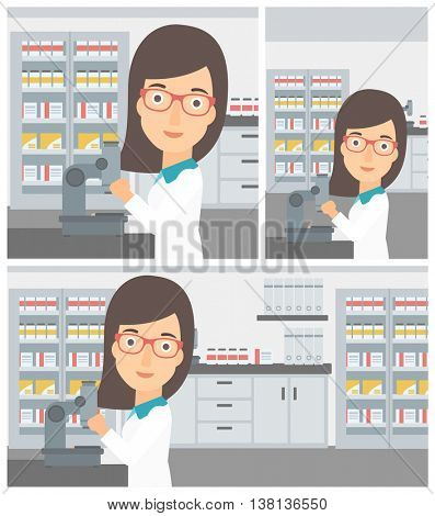 Young female laboratory assistant working with microscope at the laboratory. Vector flat design Illustration. Square, horizontal, vertical layouts.