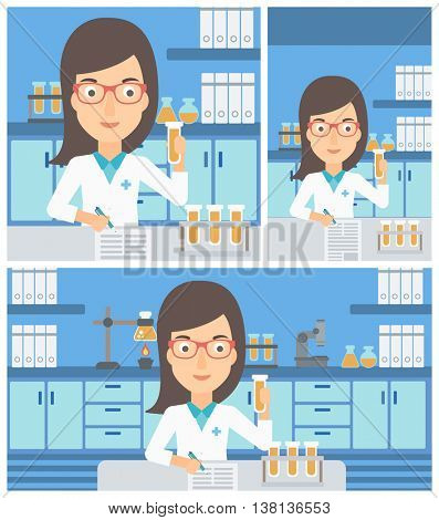 A female laboratory assistant taking some notes and working with a test tube at the lab. Vector flat design Illustration. Square, horizontal, vertical layouts.