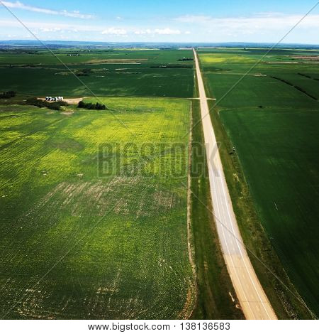 Prairie Landscape with straight road
