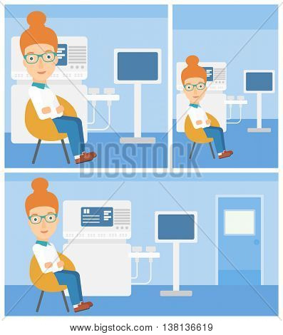 Female ultrasound doctor sitting with arms crossed near modern ultrasound equipment at medical office. Vector flat design Illustration. Square, horizontal, vertical layouts.