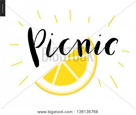 Picnic calligraphic lettering and a slice of lemon - a vector cartoon black brush hand written lettering Picnic with sparkles