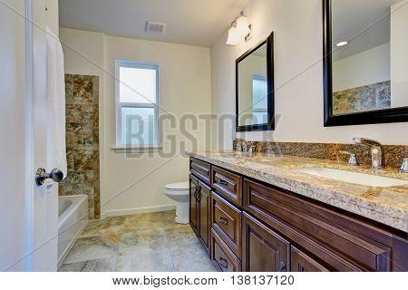 Bathroom Vanity Cabinet With Beige Granite Top