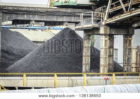 Heap Of Coal In The Mine Among Mining Infrastructure