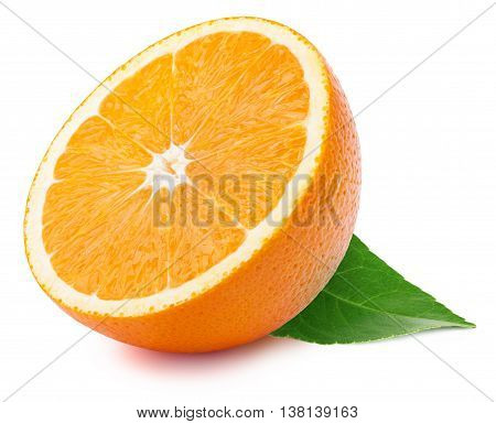 Perfectly retouched sliced half of orange with leaf isolated on the white background with clipping path