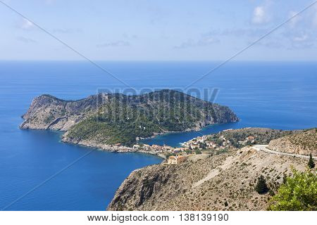 the peninsula with the picturesque village of assos in Kefalonia