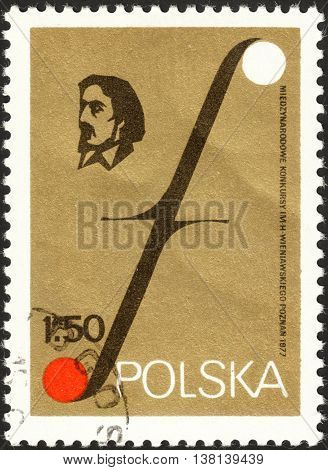MOSCOW RUSSIA - DECEMBER 2015: a post stamp printed in POLAND shows a portrait of Henryk Wieniawski devoted to the International Wieniawski Violin Playing Competition in Poznan circa 1977