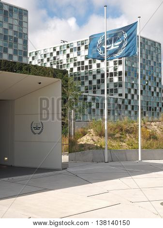 The Hague Netherlands - July 5 2016: The International Criminal Court entrance and Flag at the new 2016 opened ICC building.