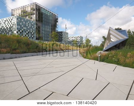 The Hague Netherlands - July 5 2016: The International Criminal Court forecourt and entrance at the new 2016 opened ICC building.