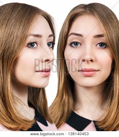 Beauty woman face portrait isolated on white. Youth and skin care concept.