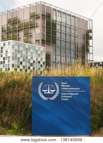The Hague Netherlands - July 5 2016: The International Criminal Court entrance sign and the new 2016 opened ICC building.