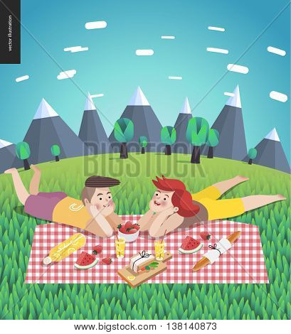 Young couple on picnic - flat cartoon vector illustration of woman and man laying down on checkered plaid in landscape with mountains and trees on the background, and field of grass on the foreground
