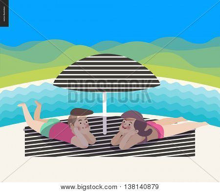 Beach summer scene with a landscape, cartoon vector illustration - a young couple laying under the beach striped umbrella on the striped plaid, with a waved river and hills in background