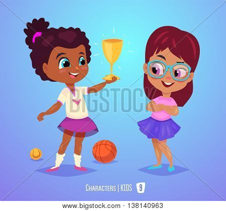 Cute Girls. Back to School isolated cartoon character on blue background. Girl with prize. Great illustration for a school books and more. VECTOR stock illustration.