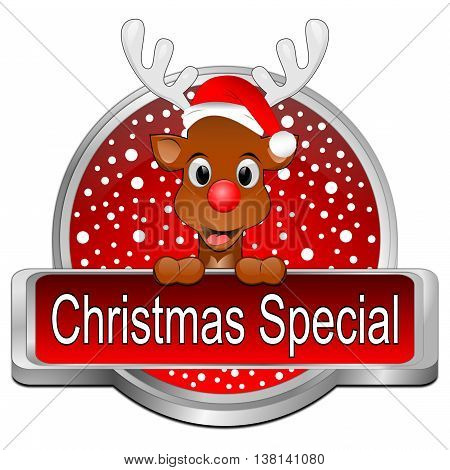 decorative red Christmas Special with reindeer button- 3D illustration