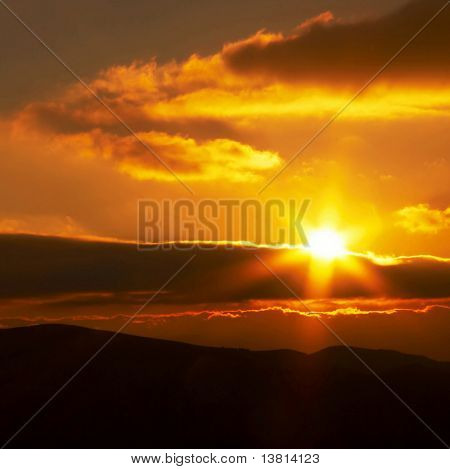 Sunrise in mountain