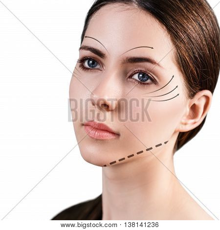 Young female face with clean fresh skin isolated on white. Antiaging concept.
